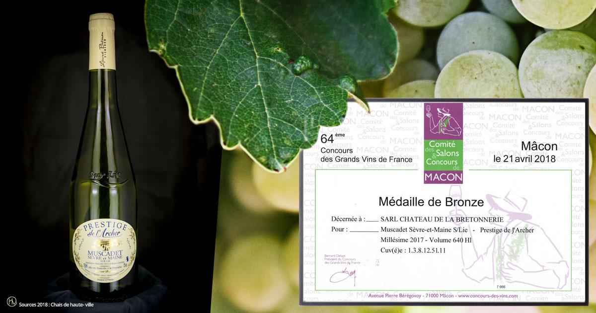 Médaille de Bronze au concours des vins du Comité des Salons et Concours de Mâcon.
